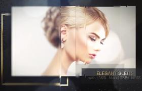 金色奢华边框光点飞舞点缀玻璃效果切换图文幻灯片ae模板