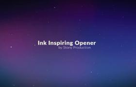 紫色星空粒子墜落效果鏤空標題水墨暈染圖文宣傳ae模板