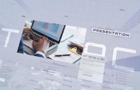 淺色清新風圖文數據空間效果緩沖的商務宣傳ae模板