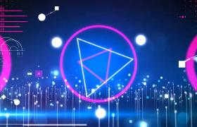 粒子活泼弹跳圆环三角图形变幻LED活力舞台背景视频