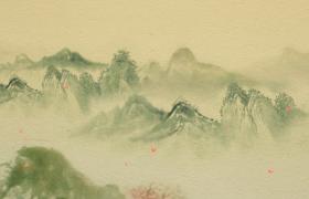 古風質感背景連綿青山桃花凋零水墨特效視頻優德w88中文版