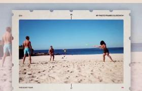 清爽夏日时光相片悬浮拉动效果展示的电子相册ae模板