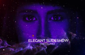 宇宙星河浮動紫色拖尾粒子飛躍演繹人物介紹幻燈片ae模板
