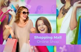 紫色渐变视差购物场景展示商场网店宣传广告ae模板