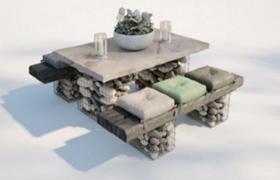創意性石頭塊鋼筋包裝支撐設計庭院格調家具C4D模型