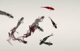 水墨笔画勾勒池鱼山水古风意境LED舞台背景视频