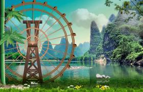 青山绿水自然美景水车转动动画清新舞台背景视频