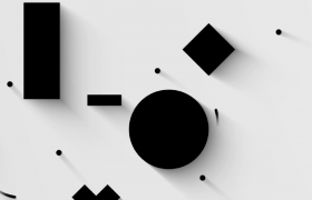 極簡空白背景黑色立體圖形轉動MP4特效動畫視頻