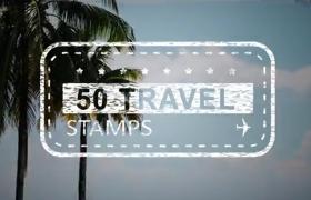 逼真手繪設計的50款旅游紀念戳印章動畫素材ae模板