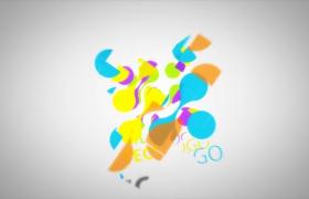 動態彩塊不斷拼合疊加新穎logo標志開場ae模板參考