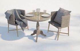 高品質麻衣針織材質會客廳桌椅套件C4D Vray渲染模型