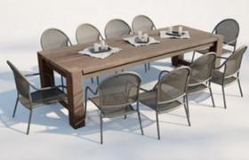 歐式宴會多人長條餐桌C4D家居陳設VRAY渲染模型