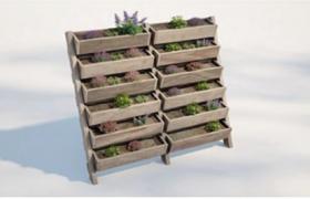 精美田園風光階梯式綠植盆栽展示架C4D模型