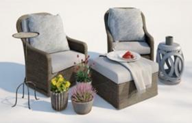 休閑慵懶風布藝經典家居座椅套裝cinema 4d模型展示