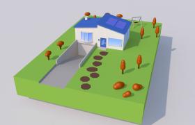 卡通獨棟別墅建筑場景C4D工程渲染模型(含車庫地下室)