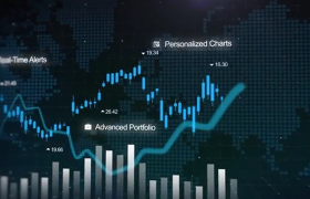 曲线柱状图形表动画效果展示的金融股票商务宣传ae片头