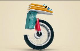 3D物品組裝創意卡通風5秒倒計時視頻