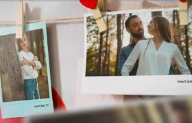 漂亮精美挂绳文艺相片墙设计的恋爱家庭相册ae模板