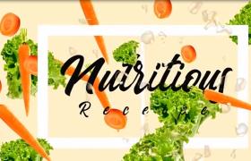 鲜艳亮丽卡通风格美食餐饮蔬菜水果配送ae包装片头