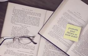 溫馨圖書館3D實拍場景筆記本便利貼文字標題ae模板