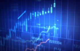 藍色商務風數據懸浮圖線指標上下動蕩金融股票特效視頻