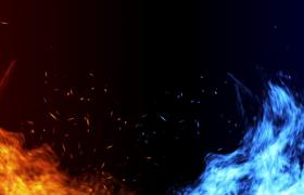 冰火两重天红蓝双色火焰燃烧演绎4K特效背景视频