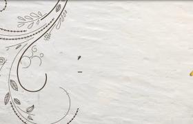 彩繪花藤蔓延蝴蝶夢幻飛舞簡單圖文展示會聲會影相冊模板