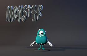 卡通独眼小怪兽Monster动漫雕塑玩具Cinema4D模型