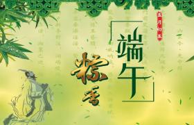 绿色嫩竹竹叶飘洒粽香端午创意端午节活动背景视频素材