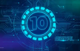震撼拉伸特效藍色未來科技派10秒倒計時AE模板