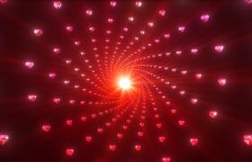 幻光爱心钻石螺旋矩阵空间感冲击4K舞台背景视频