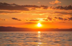 水面波紋快速變幻日落西山美景MP4延時拍攝視頻