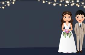 卡通新婚夫妇眨眼睛浪漫婚礼场景特效动画背景视频