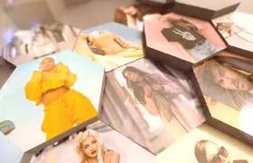 六边蜂巢图形三维翻转展示时尚图集相册特效ae模板