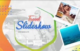 彩色动画元素青春活力感旅游主题展示ae相册模板
