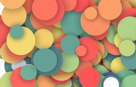 彩色圆片活泼溢出动态视觉渲染特效背景视频