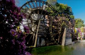 中國古代發明傳統水車轉動高清下載視頻