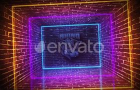 三维墙壁空间霓虹led灯闪烁照亮标志浮现ae开场片头