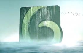 波澜海面飞行场景LOGO浮出水面创意标志开场ae片头
