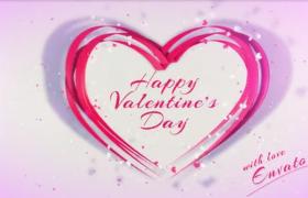 爱心粒子飞舞粉红绸带心形图案演绎情人节片头ae模板