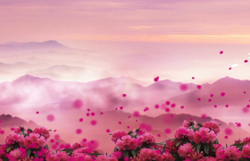 党政视频_紫色鲜花飞舞浪漫大气舞台背景建军建党节视频素材
