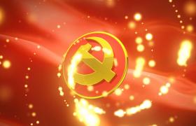 党政视频素材-粒子三维空间闪烁党徽展示建党节视频素材