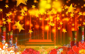 党政视频素材-红色牡丹五角星循环旋转天安门大气舞台背景国庆节视频素材