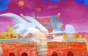 党政视频素材-手绘风和平鸽天安门红色喜庆国庆节短视频素材