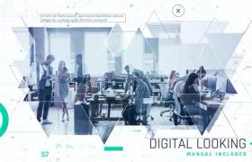 三角形拼接过渡呈现未来科技时代企业宣传幻灯片动画AE模板