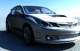 炫光蓝斯巴鲁Subaru STI翼豹C4D物理渲染模型