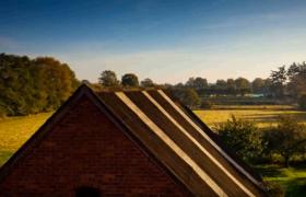 靜景實拍_透過屋頂看日出高清實拍視頻素材
