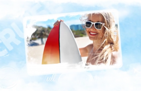 白云边框装饰夏日旅行温馨记录幻灯片展示视频模板Summer Vacation Slideshow