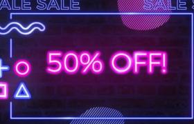 七彩霓虹灯效果创意购物狂欢节销售促销视频海报预设模板Neon Sale Posters