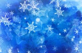 浪漫雪花飘零唯美冬日初雪动画演绎舞台背景视频素材